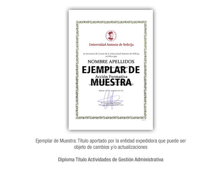 Diploma Título Actividades de Gestión Administrativa formacio universitaria