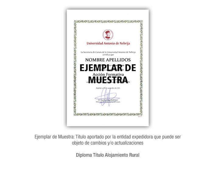 Diploma Título Alojamiento Rural formacion universitaria