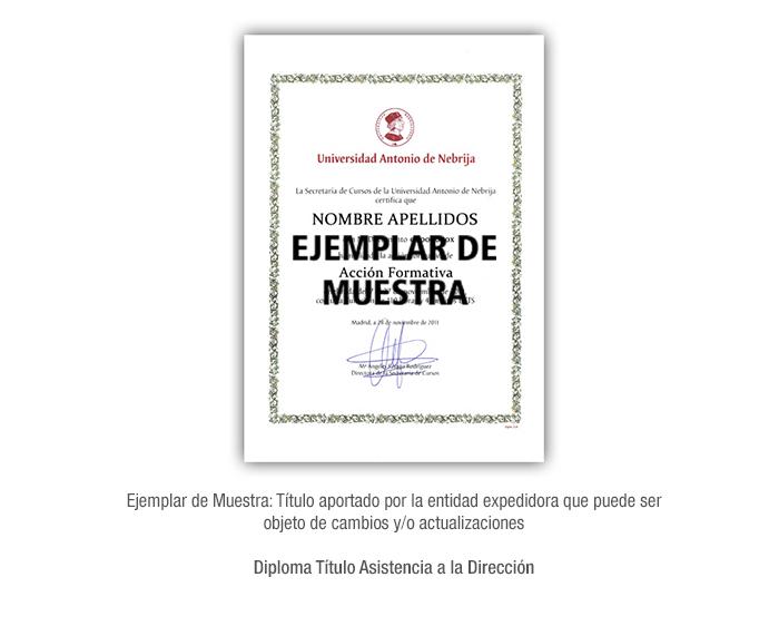 Diploma Título Asistencia a la Dirección formacion universitaria