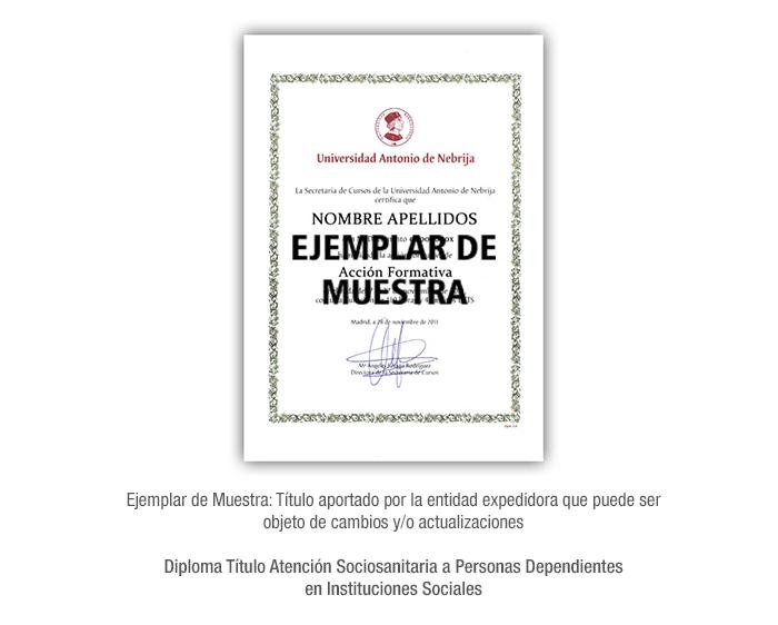 Diploma Título Atención Sociosanitaria a Personas Dependientes en Instituciones Sociales formacion universitaria