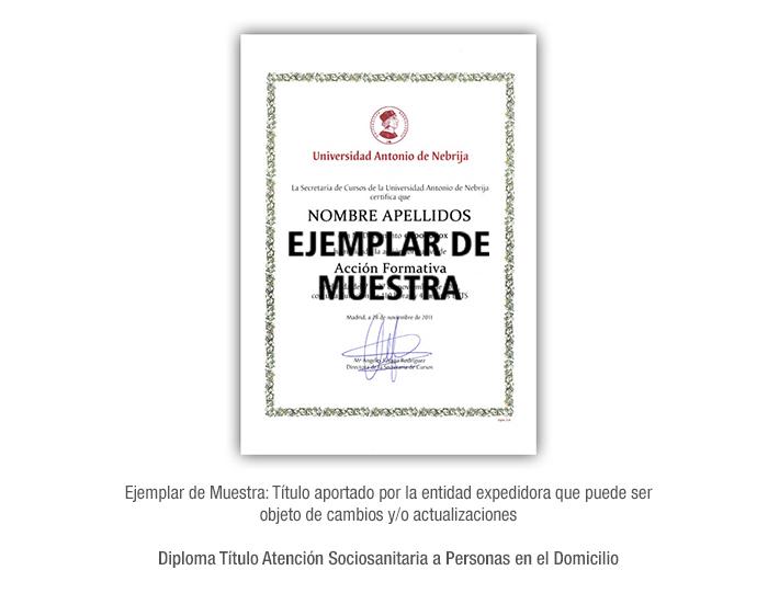 Diploma Título Atención Sociosanitaria a Personas en el Domicilio formacion universitaria