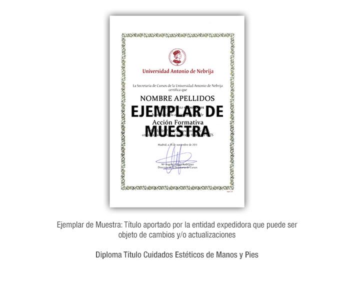 Diploma Título Cuidados Estéticos de Manos y Pies formacion universitaria
