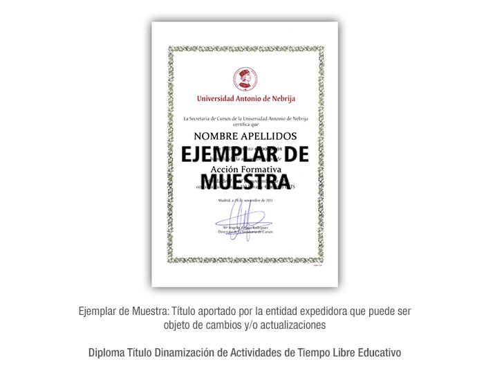 Diploma Título Dinamización de Actividades de Tiempo Libre Educativo formacion universitaria