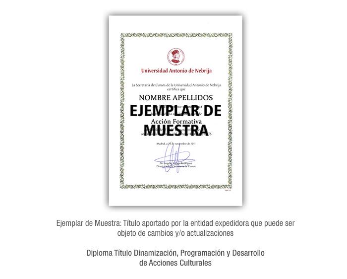 Diploma Título Dinamización, Programación y Desarrollo de Acciones Culturales formacion universitaria