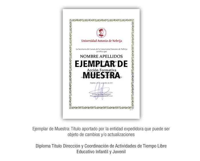 Diploma Título Dirección y Coordinación de Actividades de Tiempo Libre Educativo Infantil y Juvenil formacion universitaria