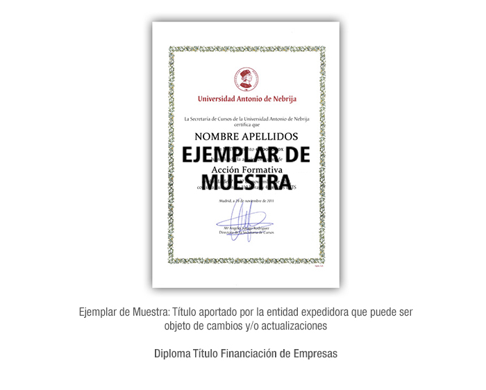Diploma Título Financiación de Empresas formacion universitaria