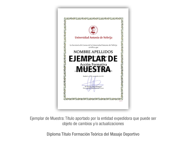 Diploma Título Formación Teórica del Masaje Deportivo formacion universitaria