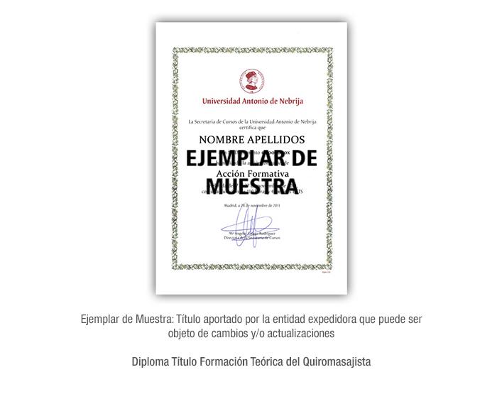 Diploma Título Formación Teórica del Quiromasajista formacion universitaria