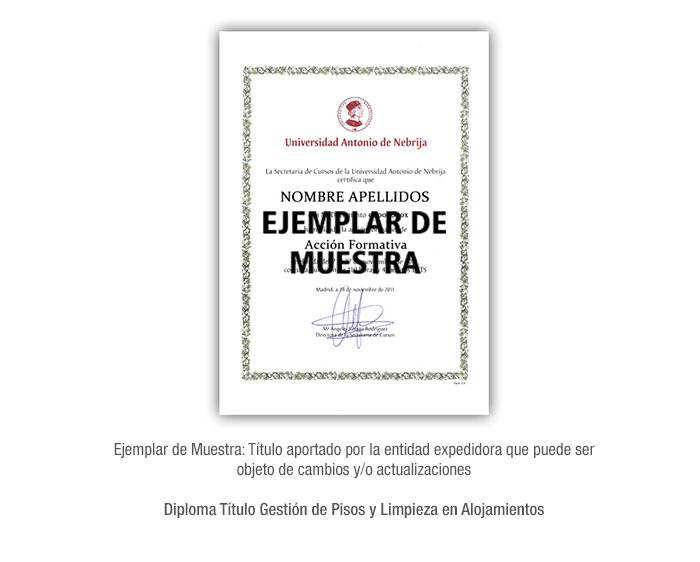 Diploma Título Gestión de Pisos y Limpieza en Alojamientos formacion universitaria
