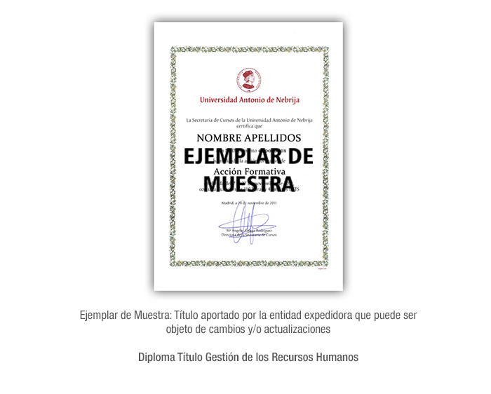 Diploma Título Gestión de los Recursos Humanos formacion universitaria