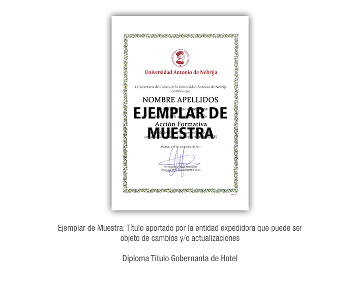 Diploma Título Gobernanta de Hotel formacion universitaria