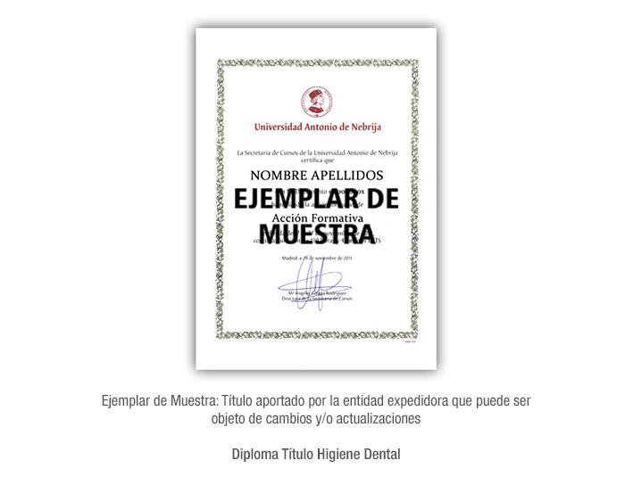 Diploma Título Higiene Dental formacion universitaria