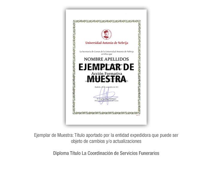 Diploma Título La Coordinación de Servicios Funerarios formacion universitaria