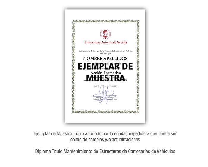 Diploma Título Mantenimiento de Estructuras de Carrocerías de Vehículos formacion universitaria