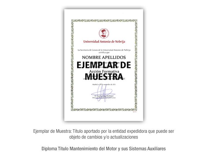 Diploma Título Mantenimiento del Motor y sus Sistemas Auxiliares formacion universitaria