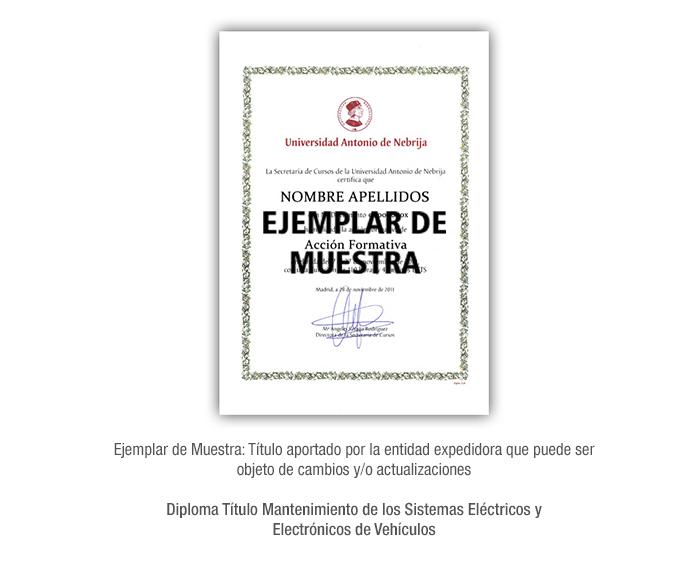 Diploma Título Mantenimiento de los Sistemas Eléctricos y Electrónicos de Vehículos formacion universitaria