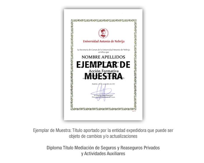 Diploma Título Mediación de Seguros y Reaseguros Privados y Actividades Auxiliares formacion universitaria