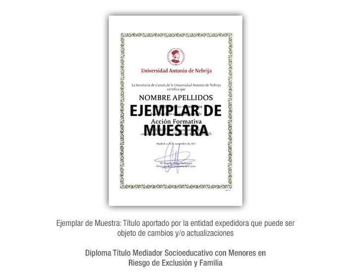Diploma Título Mediador Socioeducativo con Menores en Riesgo de Exclusión y Familia formacion universitaria