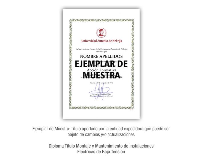 Diploma Título Montaje y Mantenimiento de Instalaciones Eléctricas de Baja Tensión formacion universitaria
