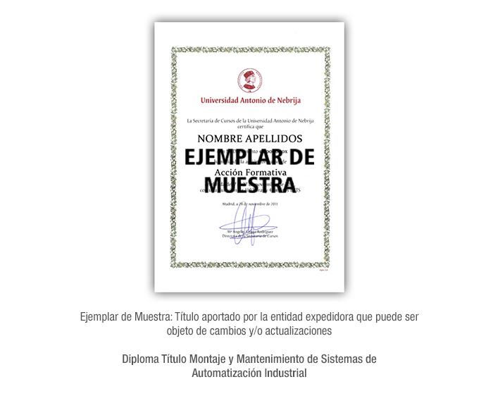 Diploma Título Montaje y Mantenimiento de Sistemas de Automatización Industrial formacion universitaria