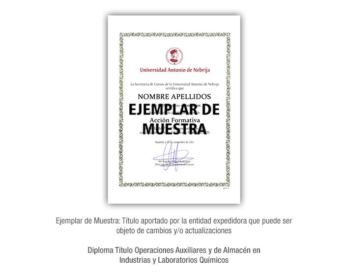 Diploma Título Operaciones Auxiliares y de Almacén en Industrias y Laboratorios Químicos formacion universitaria