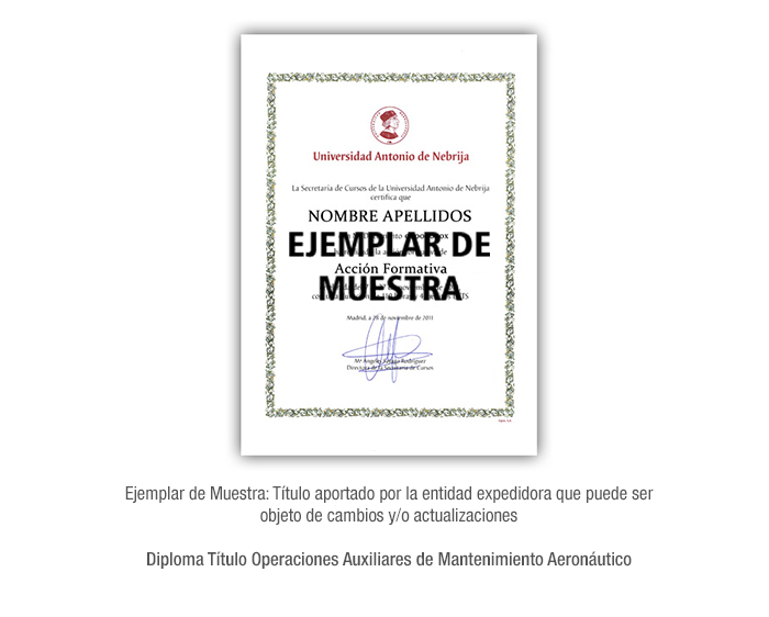 Diploma Título Operaciones Auxiliares de Mantenimiento Aeronáutico formacion universitaria