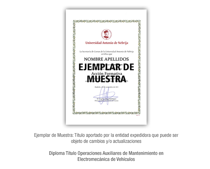 Diploma Título Operaciones Auxiliares de Mantenimiento en Electromecánica de Vehículos formacion universitaria