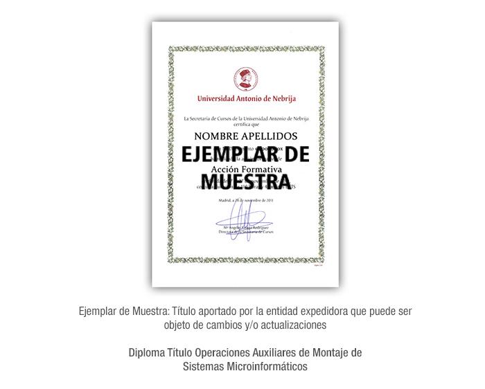 Diploma Título Operaciones Auxiliares de Montaje de Sistemas Microinformáticos formacion universitaria