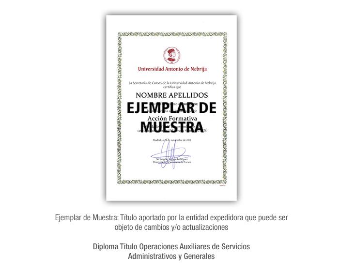 Diploma Título Operaciones Auxiliares de Servicios Administrativos y Generales formacion universitaria