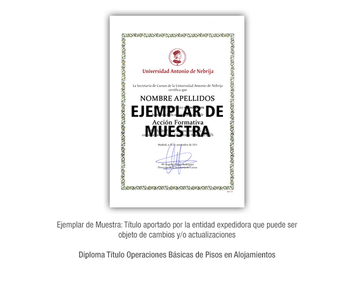 Diploma Título Operaciones Básicas de Pisos en Alojamientos formacion universitaria