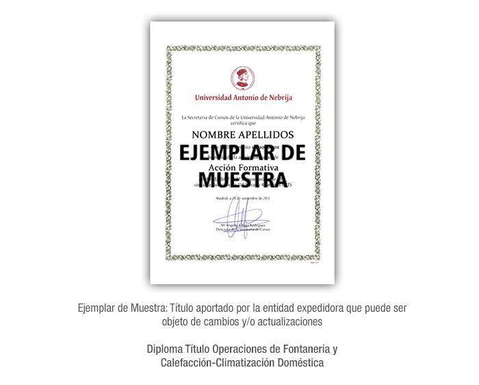 Diploma Título Operaciones de Fontanería y Calefacción-Climatización Doméstica formacion universitaria