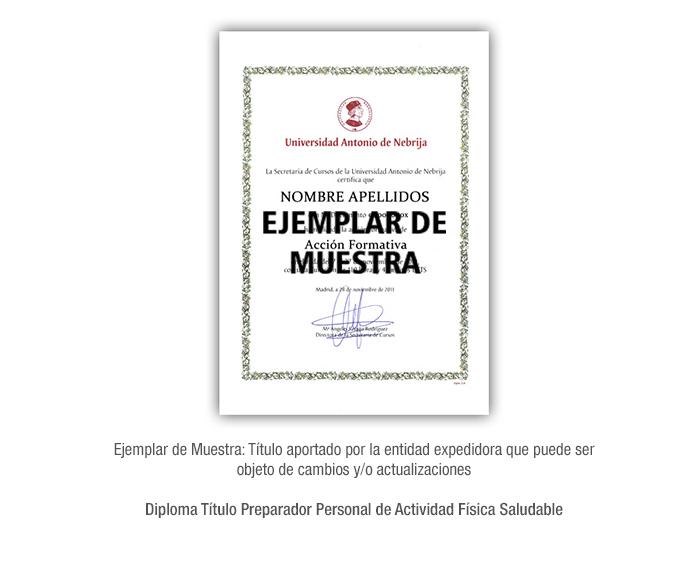Diploma Título Preparador Personal de Actividad Física Saludable formacion universitaria