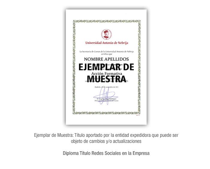 Diploma Título Redes Sociales en la Empresa formacion universitaria