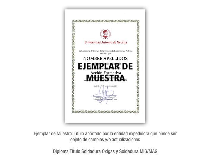 Diploma Título Soldadura Oxigas y Soldadura MIG/MAG formacion universitaria
