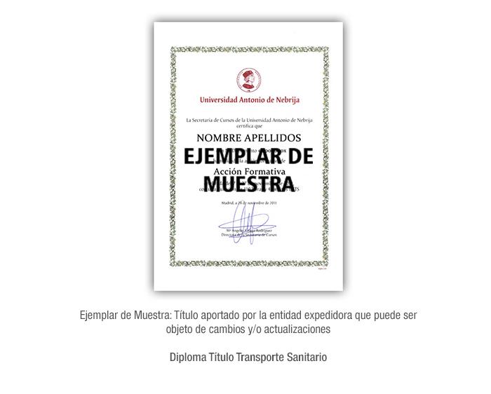 Diploma Título Transporte Sanitario formacion universitaria