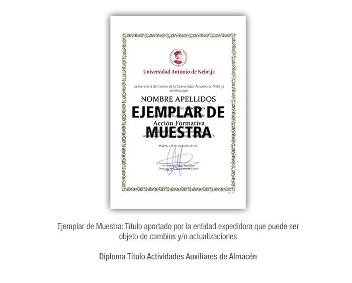 Diploma Título Actividades Auxiliares de Almacén