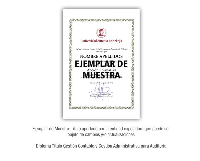 Diploma Título Gestión Contable y Gestión Administrativa para Auditoría formacion universitaria