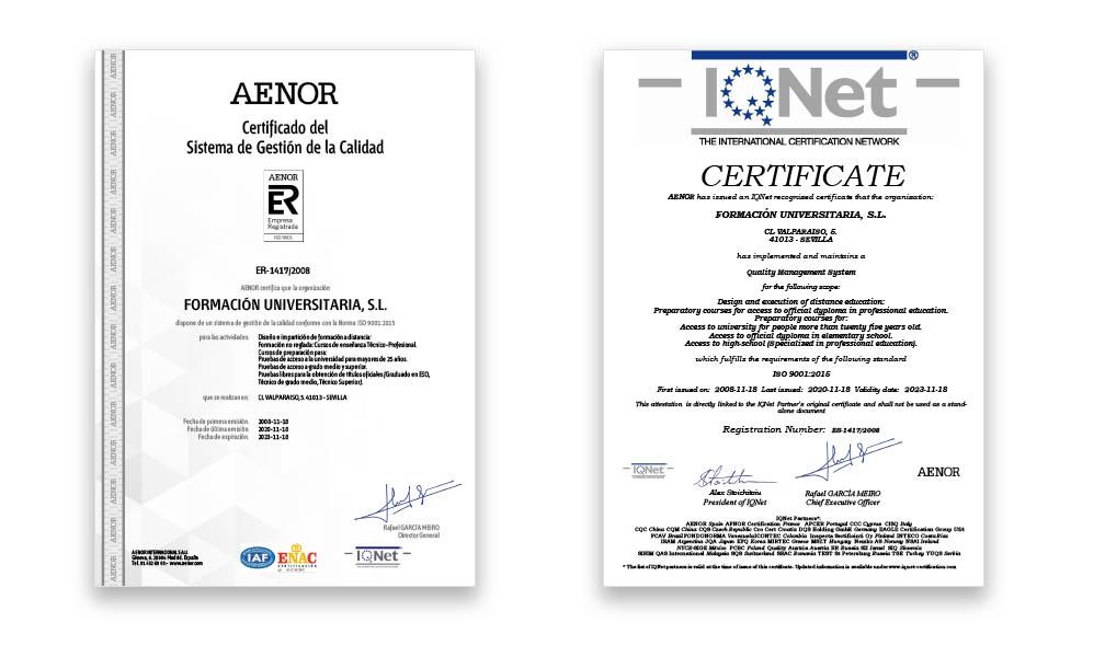 Certificado Aenor Formación Universitaria