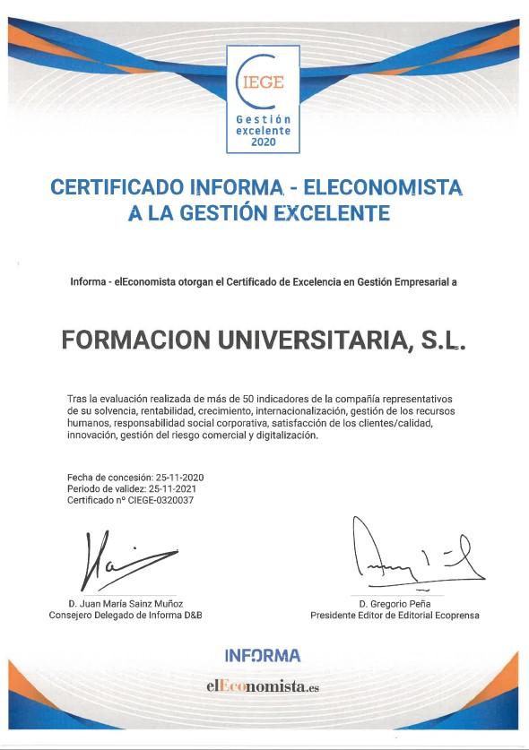 Certificado CIEGE Formación Universitaria