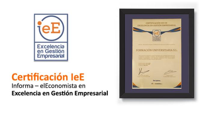 Certificado Excelencia empresarial IeE Formación Universitaria