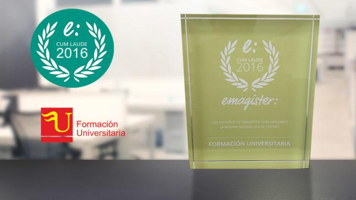 Premio cum laude 2016 Formación Universitaria de Emagister
