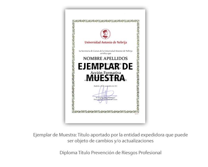 Diploma Título Prevención de Riesgos Profesionales formacion universitaria
