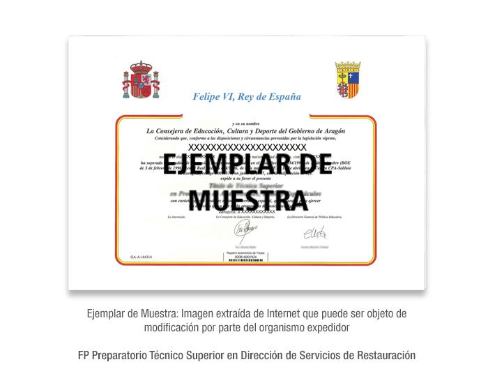 FP Preparatorio Técnico Superior en Dirección de Servicios de Restauración formacion universitaria