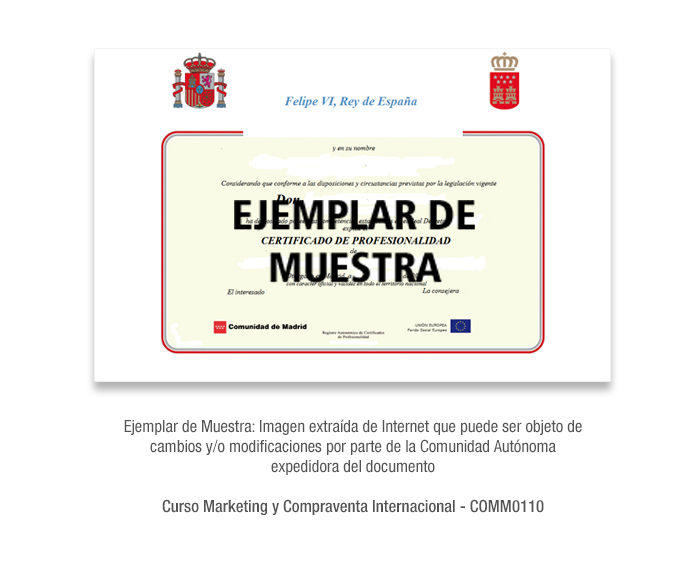 Curso Marketing y Compraventa Internacional - COMM0110 formacion universitaria