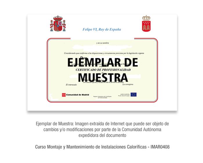 Curso Montaje y Mantenimiento de Instalaciones Caloríficas - IMAR0408 formacion universitaria
