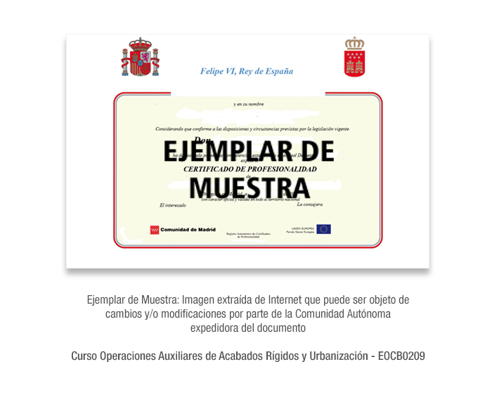 Curso Operaciones Auxiliares de Acabados Rígidos y Urbanización - EOCB0209 formacion universitaria