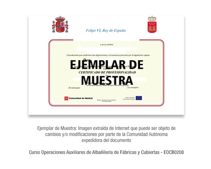 Curso Operaciones Auxiliares de Albañilería de Fábricas y Cubiertas - EOCB0208 formacion universitaria