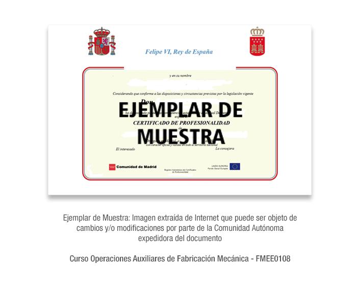 Curso Operaciones Auxiliares de Fabricación Mecánica - FMEE0108 formacion universitaria