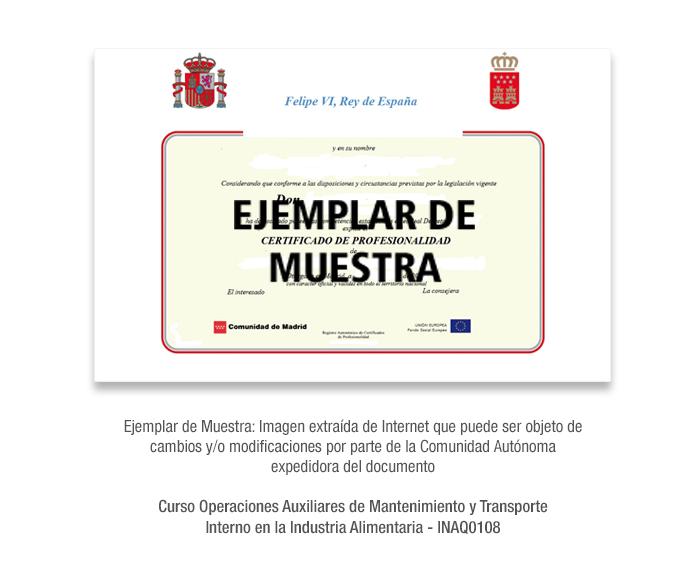 Curso Operaciones Auxiliares de Mantenimiento y Transporte Interno en la Industria Alimentaria - INAQ0108 formacion universitaria