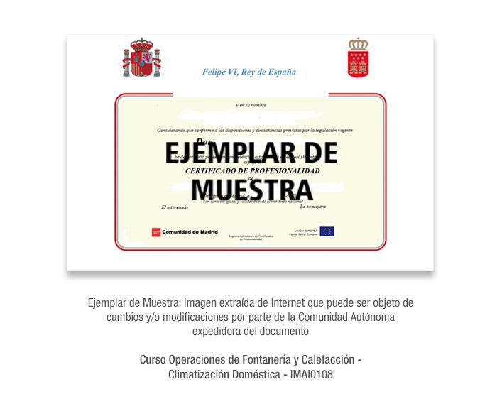 Curso Operaciones de Fontanería y Calefacción-Climatización Doméstica - IMAI0108 formacion universitaria